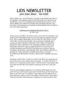 LIDS NEWSLETTER John Stahl, Editor Fall 2009