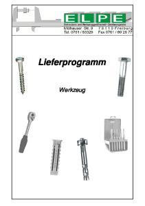 Lieferprogramm. Werkzeug