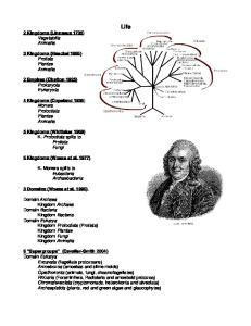 Life. 2 Kingdoms (Linnaeus 1735) Vegetabilia Animalia. 3 Kingdoms (Haeckel 1866) Protista Plantae Animalia