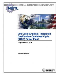 Life Cycle Analysis: Integrated Gasification Combined Cycle (IGCC) Power Plant