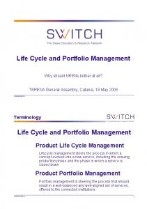 Life Cycle and Portfolio Management