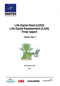 Life Cycle Assessment (LCA) Final report