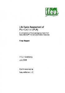 Life Cycle Assessment of POLYLACTIDE (PLA)