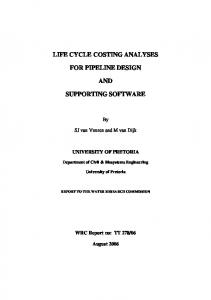 LIFE CYCLE COSTING ANALYSES FOR PIPELINE DESIGN AND SUPPORTING SOFTWARE