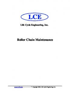 Life Cycle Engineering, Inc. Roller Chain Maintenance