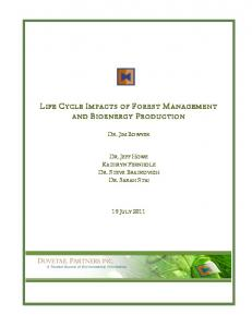 LIFE CYCLE IMPACTS OF FOREST MANAGEMENT