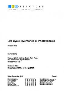 Life Cycle Inventories of Photovoltaics