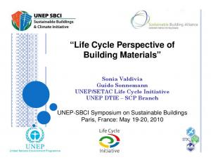 Life Cycle Perspective of Building Materials