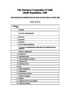 Life Insurance Corporation of India (Staff) Regulations, 1960