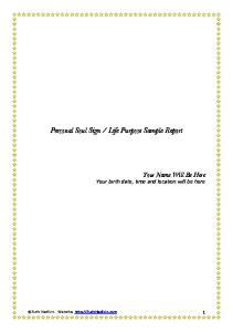 Life Purpose Sample Report