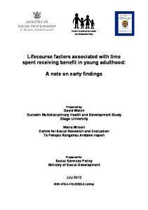 Lifecourse factors associated with time spent receiving benefit in young adulthood: A note on early findings