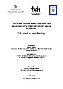 Lifecourse factors associated with time spent receiving main benefits in young adulthood: Full report on early findings