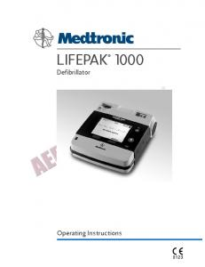LIFEPAK Defibrillator. Operating Instructions