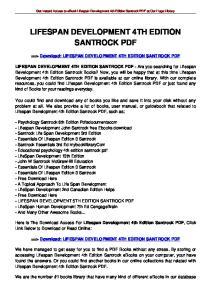 LIFESPAN DEVELOPMENT 4TH EDITION SANTROCK PDF