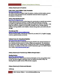 Lifespan Literacy Resource Directory
