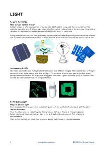 LIGHT. A. Light & Energy. B. Producing Light