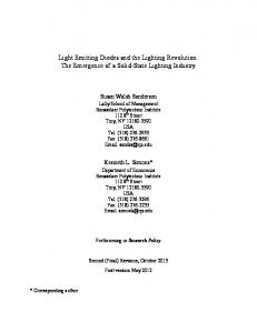 Light Emitting Diodes and the Lighting Revolution: The Emergence of a Solid-State Lighting Industry