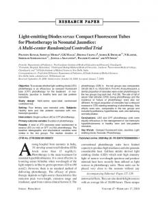 Light-emitting Diodes versus Compact Fluorescent Tubes for Phototherapy in Neonatal Jaundice: A Multi-center Randomized Controlled Trial