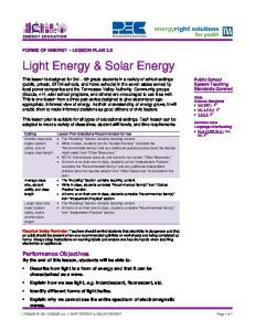 Light Energy & Solar Energy