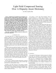Light Field Compressed Sensing Over A Disparity-Aware Dictionary