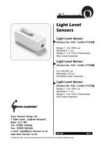 Light Level Sensors. Light Level Sensor. Light Level Sensor. Light Level Sensor DATA HARVEST. (Product No Cat.No )