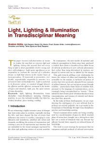 Light, Lighting & Illumination in Transdisciplinar Meaning