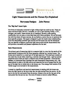 Light Measurements and the Human Eye Explained