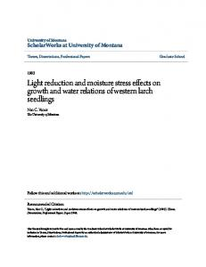 Light reduction and moisture stress effects on growth and water relations of western larch seedlings