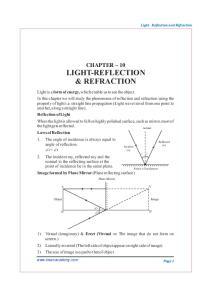LIGHT-REFLECTION & REFRACTION