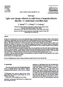 Light room therapy effective in mild forms of seasonal affective disorder A randomised controlled study