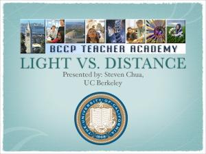 LIGHT VS. DISTANCE. Presented by: Steven Chua, UC Berkeley