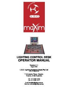 LIGHTING CONTROL DESK OPERATOR MANUAL