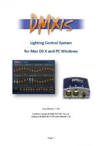 Lighting Control System. for Mac OS X and PC Windows