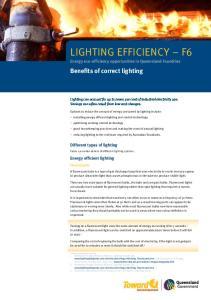 LIGHTING EFFICIENCY F6 Energy eco-efficiency opportunities in Queensland Foundries