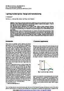 Lighting molded optics: Design and manufacturing