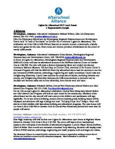 Lights On Afterschool 2015 Local Events A Representative Sample Alabama Birmingham, Alabama Birmingham, Alabama Birmingham, Alabama Luverne, Alabama