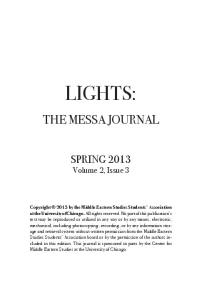 LIGHTS: THE MESSA JOURNAL. SPRING 2013 Volume 2, Issue 3