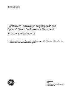 LightSpeed*, Discovery*, BrightSpeed* and Optima* Dicom Conformance Statement