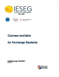 Lille - Paris. Courses available. for Exchange Students