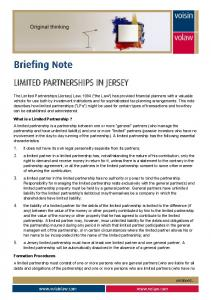 LIMITED PARTNERSHIPS IN JERSEY