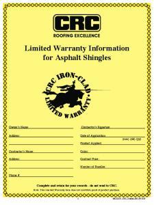 Limited Warranty Information for Asphalt Shingles