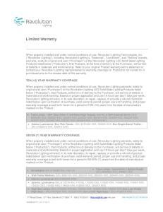 Limited Warranty TEN (10) YEAR WARRANTY COVERAGE