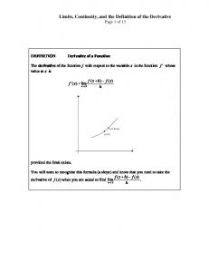 Limits, Continuity, and the Definition of the Derivative Page 1 of 13