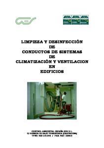 LIMPIEZA Y DESINFECCIÓN DE CONDUCTOS DE SISTEMAS DE CLIMATIZACIÓN Y VENTILACION EN EDIFICIOS