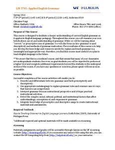 LIN 5741: Applied English Grammar