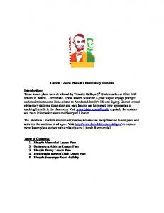 Lincoln Lesson Plans for Elementary Students