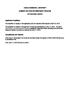 LINCOLN MEMORIAL UNIVERSITY SUMMER 2015 ENGLISH IMMERSION PROGRAM APPLICATION PACKET