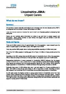 Lincolnshire JSNA: Unpaid Carers