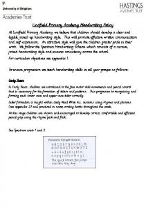 Lindfield Primary Academy Handwriting Policy