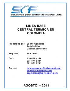 LINEA BASE CENTRAL TERMICA EN COLOMBIA